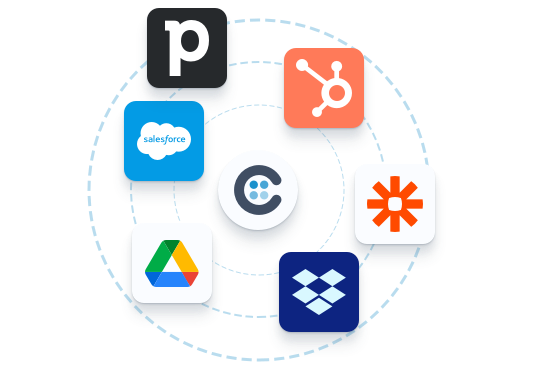 Illustration showing the integration between Collect and other SaaS like Salesforce, Zapier, Hubspot, Dropbox,...